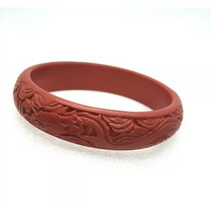 Vtg Asian Carved Cinnabar Dragon Bangle Bracelet